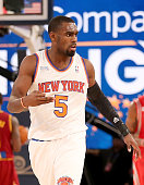 Team Webber's Tim Hardaway Jr #5 of the New York Knicks celebrates his shot in the second half against Team Hill during the BBVA Compass Rising Stars...