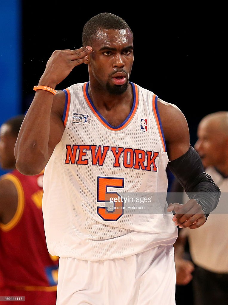 Team Webber's Tim Hardaway Jr. #5 of the New York Knicks celebrates his three pointer in second half against Team Hill during the BBVA Compass Rising Stars Challenge 2014 as part of the 2014 NBA Allstar Weekend at the Smoothie King Center on February 14, 2014 in New Orleans, Louisiana.