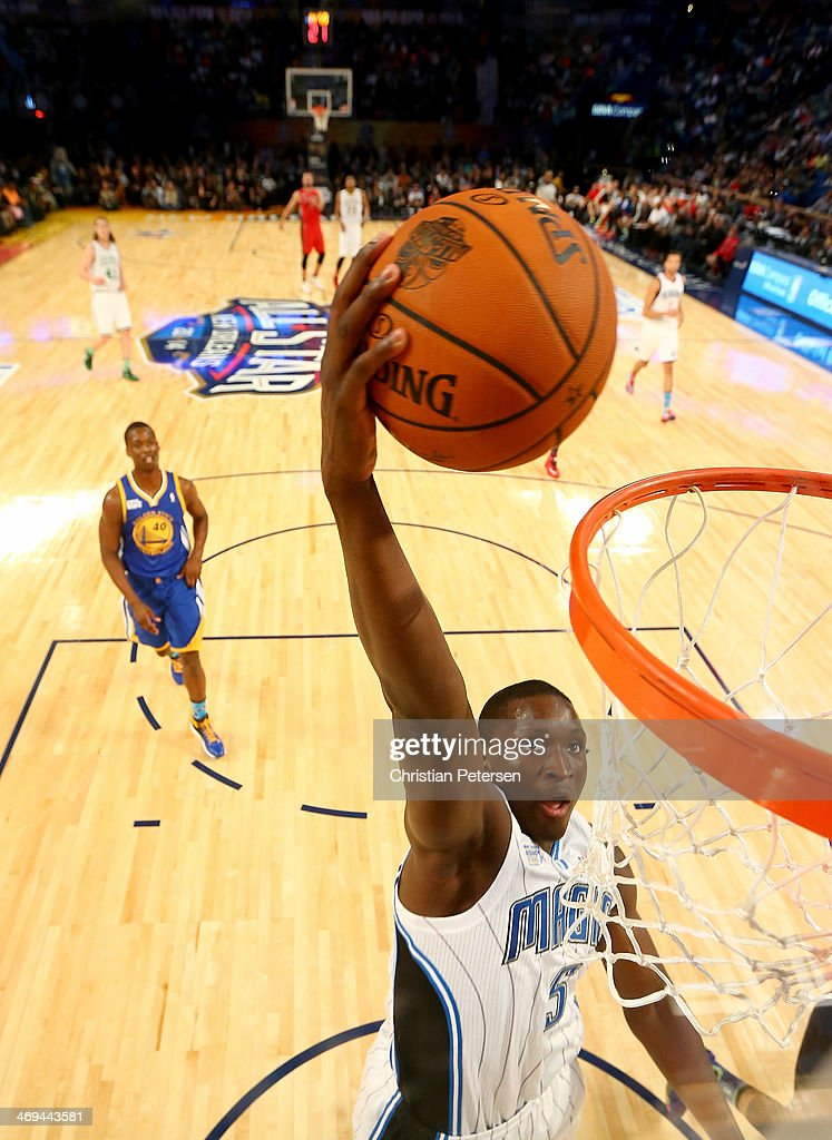 Team Webber's Victor Oladipo #5 of the Orlando Magic dunks the ball in the second half against Team Hill during the BBVA Compass Rising Stars Challenge 2014 as part of the 2014 NBA Allstar Weekend at the Smoothie King Center on February 14, 2014 in New Orleans, Louisiana.