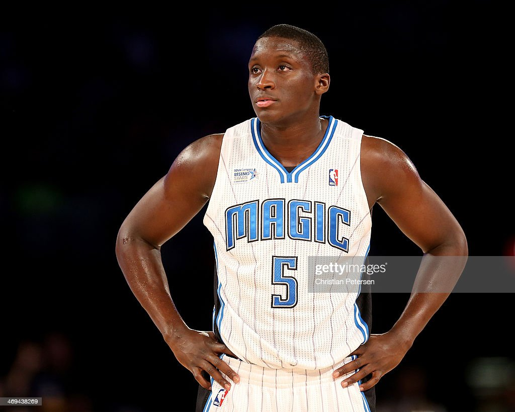 Team Webber's Victor Oladipo of the Orlando Magic looks on in the first half against Team Hill during the BBVA Compass Rising Stars Challenge 2014 as...