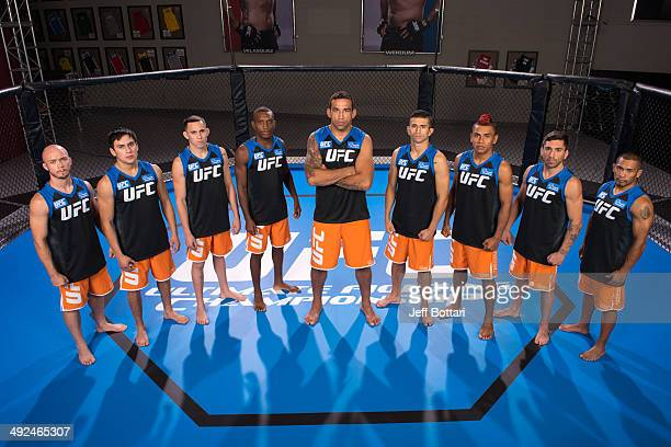 Team Werdum poses for a group portrait inside the Octagon on media day during filming of The Ultimate Fighter Latin America on May 15 2014 in Las...