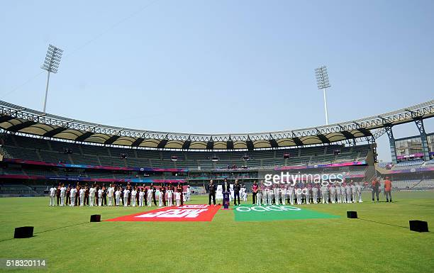 Team West Indies and Team New Zealand during the national anthem before the start of the Women's ICC World Twenty20 India 2016 Semi Final match...