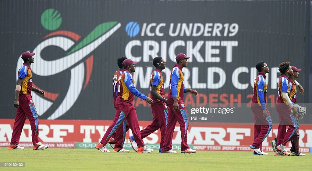 Team West Indies U19 walks back to the pavilion after getting all out for 145 runs during the ICC U19 World Cup Final Match between India and West Indies on February 14, 2016 in Dhaka, Bangladesh.