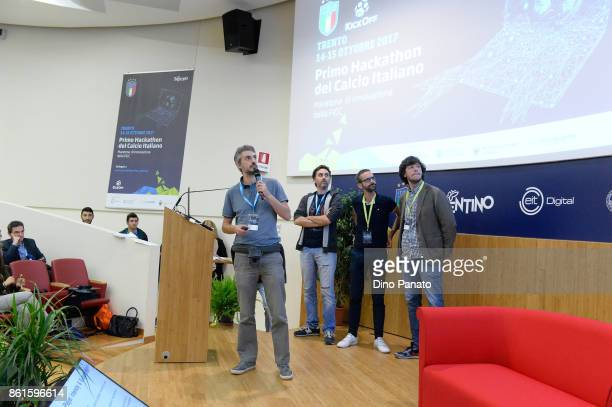 Team Winescout attend the second day of the Hackathon Event at the University of Letters on October 15 2017 in Trento Italy