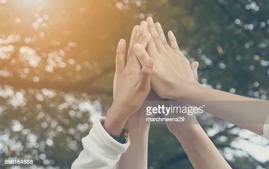 Team work and together concept, Hand of people high five for tag team : Stock Photo
