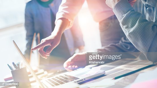 Team work. New product researching. Startup crew : Stock Photo