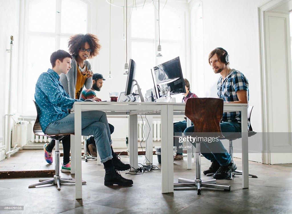 Team working at a start up