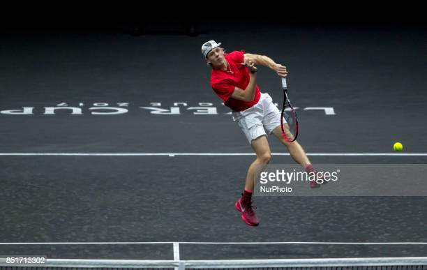 Team World player Denis Shapovalov of Canada returns the ball to Team Europe player Alexander Zverev of Germany during the first day at Laver Cup on...