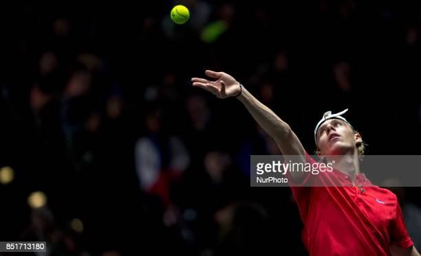 Team World player Denis Shapovalov of Canada serves against Team Europe player Alexander Zverev of Germany during the first day at Laver Cup on Sept...