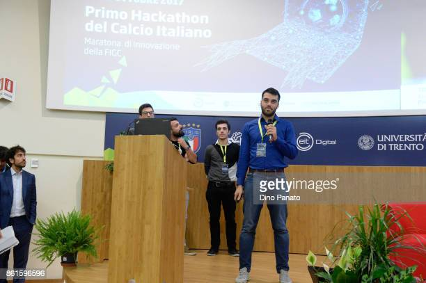 Team XHack attend the second day of the Hackathon Event at the University of Letters on October 15 2017 in Trento Italy