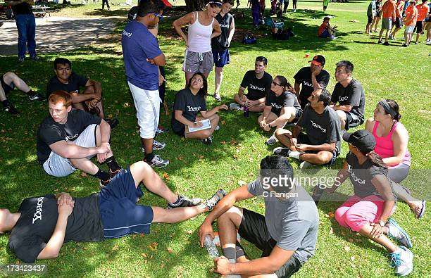 Team Yahoo sits for the Bar Trivia competition during the Founder Institute's Silicon Valley Sports League event on July 13 2013 in Palo Alto...