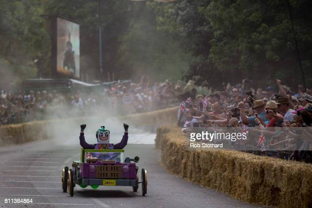 Team You Gotham Be Kidding Me take part in the The Red Bull Soapbox Race at Alexandra Palace on July 9 2017 in London England The event in which...