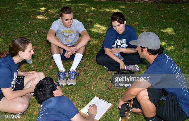 Team Zazzle sits for the Bar Trivia competition during the Founder Institute's Silicon Valley Sports League event on July 13 2013 in Palo Alto...