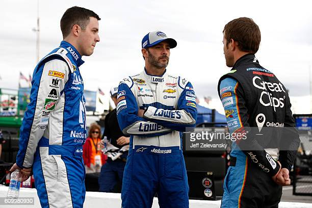 Teammates Alex Bowman driver of the Nationwide Chevrolet Jimmie Johnson driver of the Lowe's Chevrolet and Kasey Kahne driver of the Great Clips...
