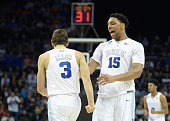 Teammates Grayson Allen and Jahlil Okafor of the Duke Blue Devils react against the San Diego State Aztecs during the third round of the 2015 NCAA...