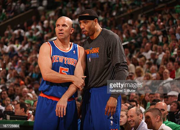 Teammates Jason Kidd and Kenyon Martin of the New York Knicks confer during the game against the Boston Celtics in Game Four of the Eastern...
