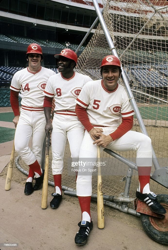 Teammates Johnny Bench #5, Joe Morgan #8, <a gi-track='captionPersonalityLinkClicked' href=/galleries/search?phrase=Pete+Rose&family=editorial&specificpeople=202020 ng-click='$event.stopPropagation()'>Pete Rose</a> #14 of the Cincinnati Reds sitting on the batting cage before a MLB baseball game circa mid 1970s at Riverfront Stadium in Cincinnati, Ohio. Bench played for the Reds from 1967-83, Morgan 1972-79, Rose 1963-78 and 1984-89.