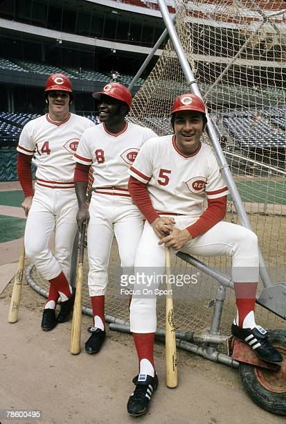 Teammates Johnny Bench Joe Morgan Pete Rose of the Cincinnati Reds sitting on the batting cage before a MLB baseball game circa mid 1970s at...