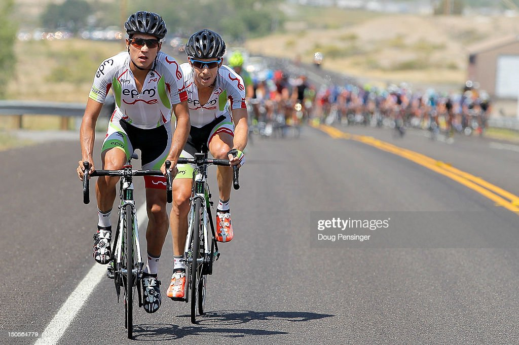 Teammates Jorge Camilo Castiblanco Cubides of Columbia and Rafael Infantino Abreu of Columbia riding for EPM-Une try to organize a breakaway early in the race during stage two of the USA Pro Challenge from Montrose to Crested Butte on August 21, 2012 in Montrose, Colorado.