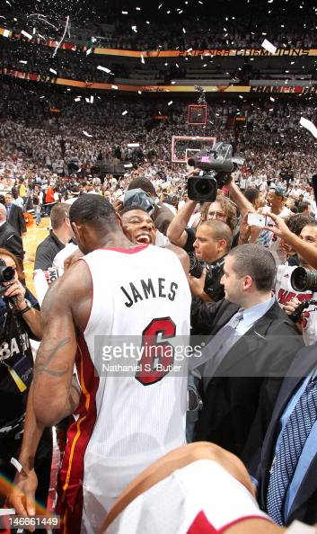 Teammates LeBron James and Norris Cole celebrate after winning Game Five of the 2012 NBA Finals at American Airlines Arena on June 21 2012 in Miami...