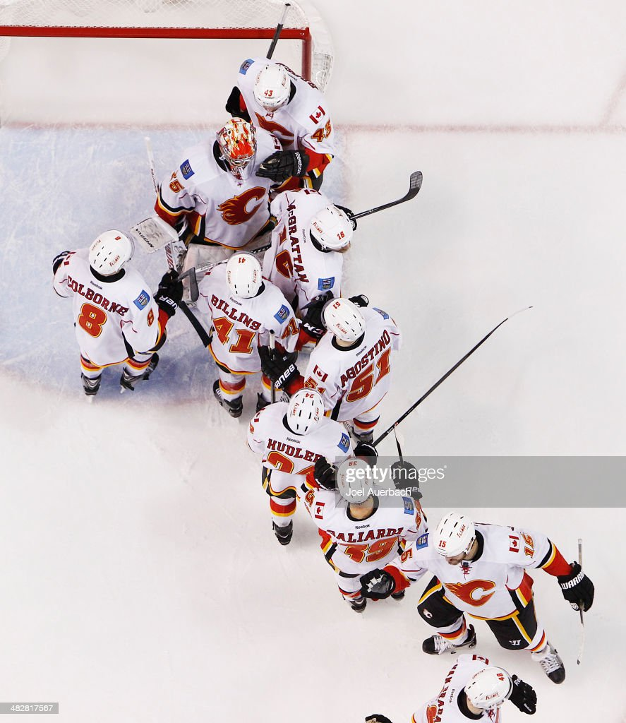 Teammates line up to congratulate goaltender <a gi-track='captionPersonalityLinkClicked' href=/galleries/search?phrase=Joey+MacDonald&family=editorial&specificpeople=2234367 ng-click='$event.stopPropagation()'>Joey MacDonald</a> #35 of the Calgary Flames after the win over the Florida Panthers at the BB&T Center on April 4, 2014 in Sunrise, Florida. The Flames defeated the Panthers 2-1.