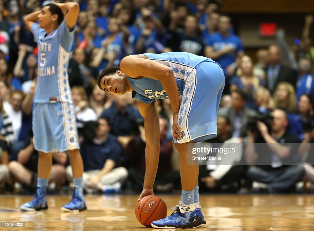 Teammates Marcus Paige #5 and James Michael McAdoo #43 of the North Carolina Tar Heels react after a play late in their game against the Duke Blue Devils at Cameron Indoor Stadium on February 13, 2013 in Durham, North Carolina.