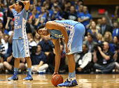 Teammates Marcus Paige and James Michael McAdoo of the North Carolina Tar Heels react after a play late in their game against the Duke Blue Devils at...