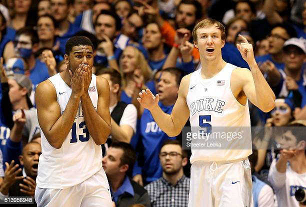 Teammates Matt Jones and Luke Kennard of the Duke Blue Devils react after a play during their game against the North Carolina Tar Heels at Cameron...