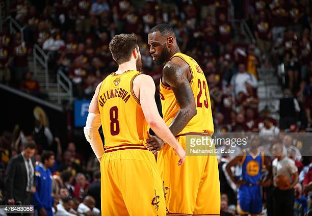 Teammates Matthew Dellavedova of the Cleveland Cavaliers and LeBron James of the Cleveland Cavaliers together during Game Three of the 2015 NBA...