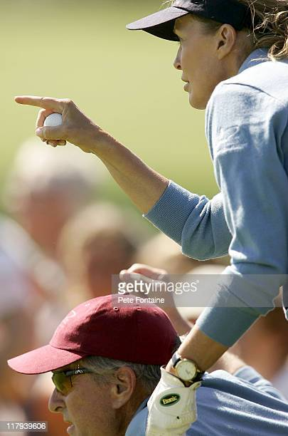 Teammates Michael Douglas and Cheryl Ladd during the first round of the All*Star Cup at Celtic Manor Resort's Roman Road Course Newport Wales Great...