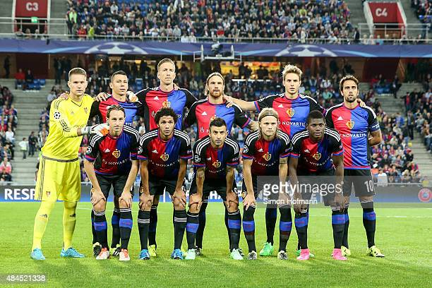 Teammates of Basel pose prior to the UEFA Champions League qualifying round play off first leg match between FC Basel and Maccabi Tel Aviv at St...