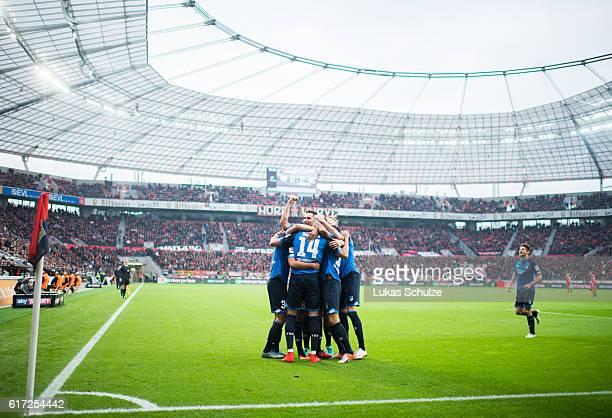 Teammates of Hoffenheim celebrate the second goal of Sandro Wagner of Hoffenheim during the Bundesliga match between Bayer 04 Leverkusen and TSG 1899...