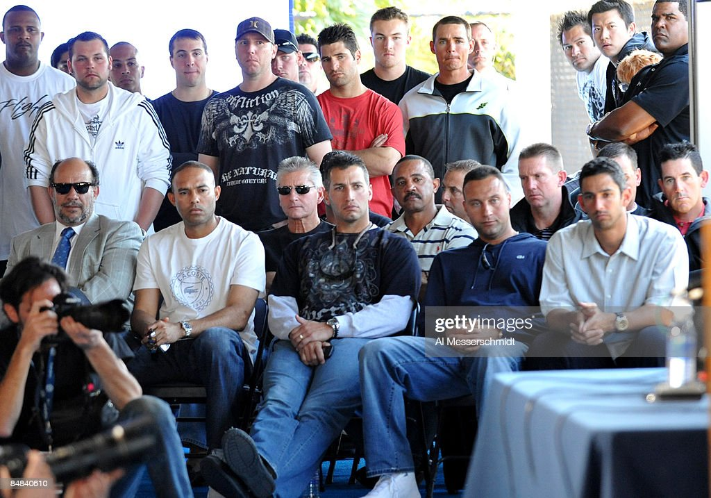 Teammates of infielder Alex Rodriguez of the New York Yankees including Jorge Posada Derek Jeter Andy Pettitte and Mariano Rivera listen during a...