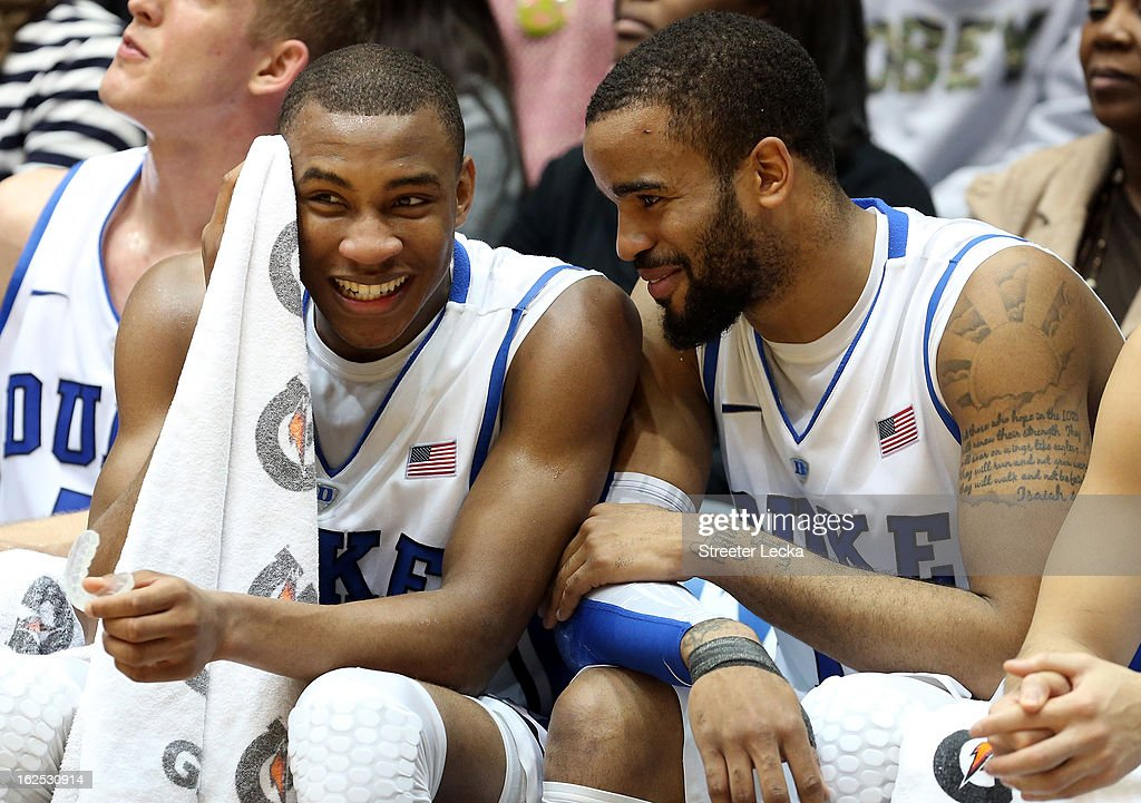Teammates <a gi-track='captionPersonalityLinkClicked' href=/galleries/search?phrase=Rasheed+Sulaimon&family=editorial&specificpeople=7887134 ng-click='$event.stopPropagation()'>Rasheed Sulaimon</a> #14 and Josh Hairston #15 of the Duke Blue Devils react on the bench during their game against the Boston College Eagles at Cameron Indoor Stadium on February 24, 2013 in Durham, North Carolina.