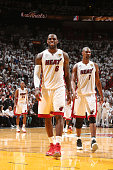 Teammates Ray Allen LeBron James and Chris Bosh of the Miami Heat during overtime of Game Six of the 2013 NBA Finals on June 18 2013 at American...