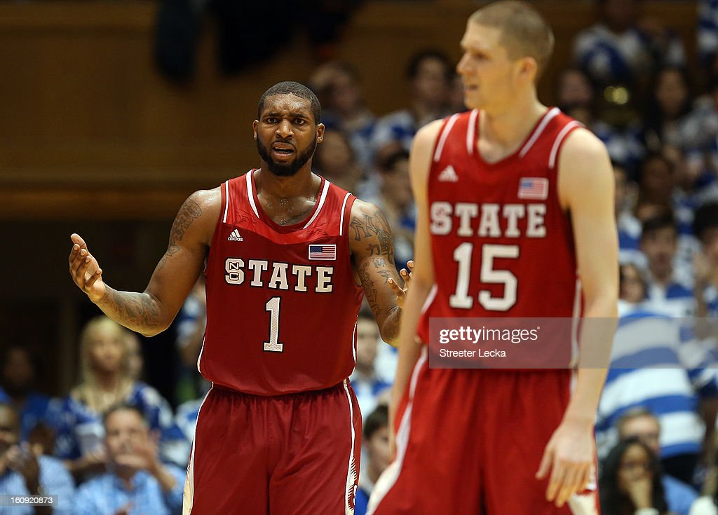 Teammates Richard Howell #1 and Scott Wood #15 of the North Carolina State Wolfpack react to a call during their game against the Duke Blue Devils at Cameron Indoor Stadium on February 7, 2013 in Durham, North Carolina.