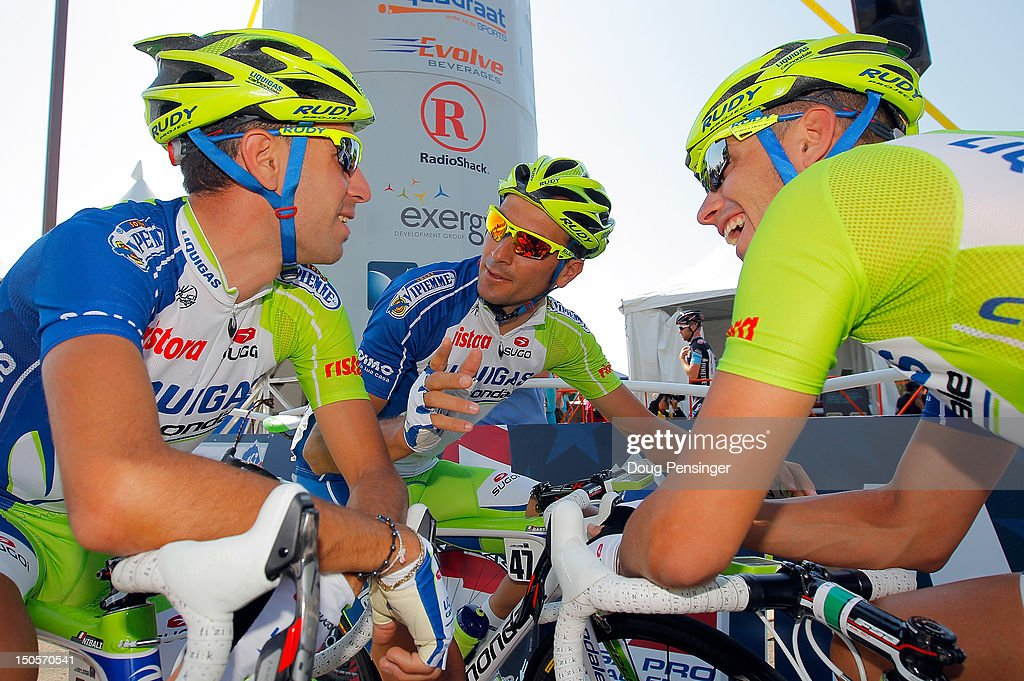 Teammates <a gi-track='captionPersonalityLinkClicked' href=/galleries/search?phrase=Vincenzo+Nibali&family=editorial&specificpeople=770634 ng-click='$event.stopPropagation()'>Vincenzo Nibali</a> of Italy, <a gi-track='captionPersonalityLinkClicked' href=/galleries/search?phrase=Ivan+Basso&family=editorial&specificpeople=228363 ng-click='$event.stopPropagation()'>Ivan Basso</a> of Italy and <a gi-track='captionPersonalityLinkClicked' href=/galleries/search?phrase=Valerio+Agnoli&family=editorial&specificpeople=4838401 ng-click='$event.stopPropagation()'>Valerio Agnoli</a> of Italy all riding for Liquigas-Cannondale prepare for the start of stage two of the USA Pro Challenge from Montrose to Crested Butte on August 21, 2012 in Montrose, Colorado.