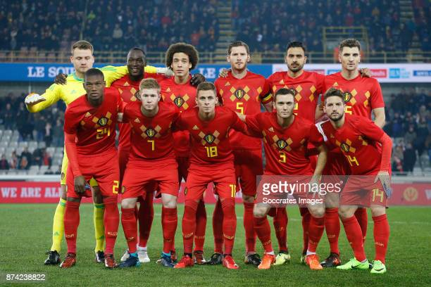 Teamphoto of Belgium standing Simon Mignolet of Belgium Romelu Lukaku of Belgium Axel Witsel of Belgium Jan Vertonghen of Belgium Nacer Chadli of...