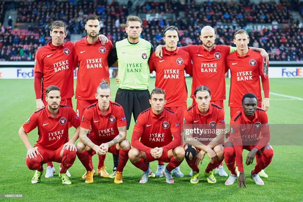 Teamphoto of FC Midtjylland prior to the UEFA Europa League Group Play match between FC Midtjylland and Legia Warszawa at MCH Arena on September 17...