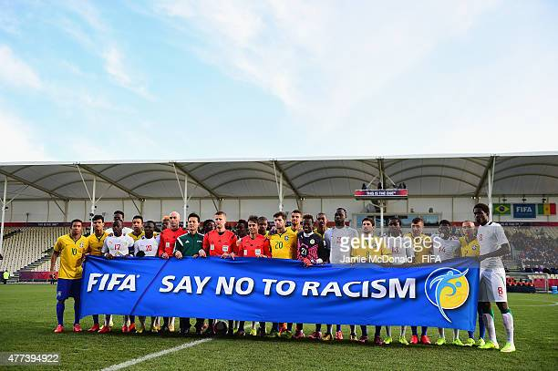 Teams and Officials Say No To Racism during the FIFA U20 World Cup Semi Final match between Brazil and Senegal at Christchurch Stadium on June 17...