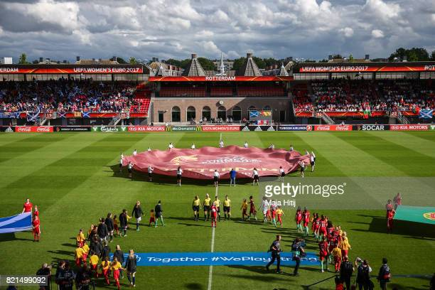 Teams arrive prior the UEFA Women's Euro 2017 Group D match between Scotland v Portugal at Sparta Stadion on July 23 2017 in Rotterdam Netherlands
