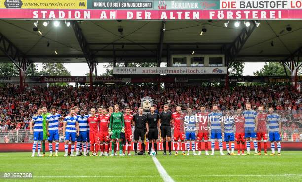 teams before the game between Union Berlin and the Queens Park Rangers on july 24 2017 in Berlin Germany