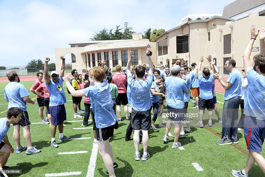 Teams celebrate at the Founder Institute's Silicon Valley Sports League on July 13, 2013 in San Francisco, California.