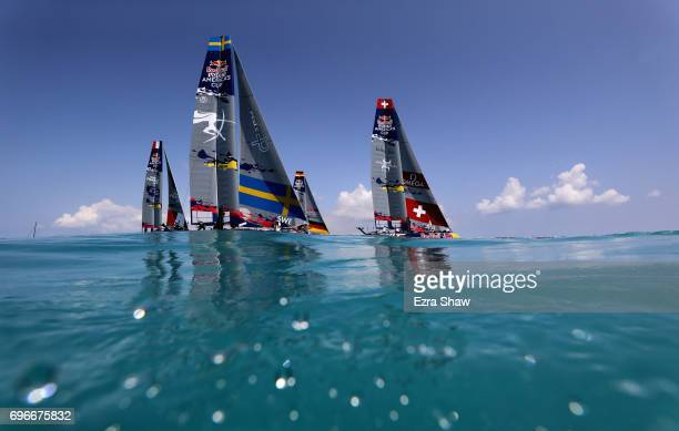 Teams compete against each other during the Red Bull Youth America's Cup Qualifying races on June 16 2017 in Hamilton Bermuda The teams are from...