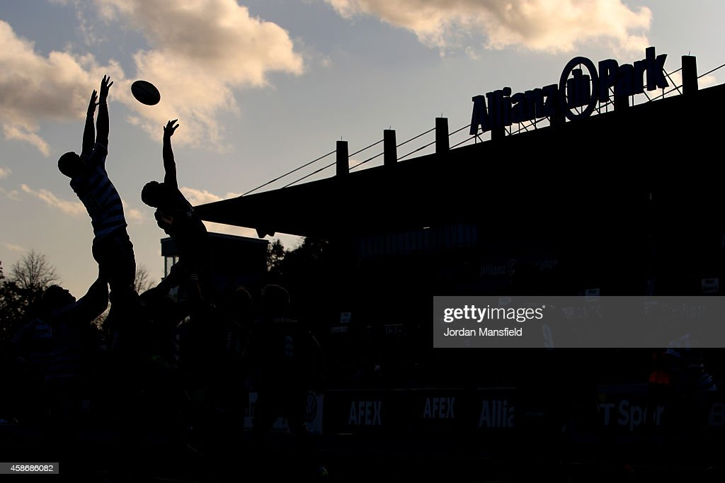 Teams compete for a lineout during the match between Saracens and DHL Western Province at Allianz Park on November 9 2014 in Barnet England