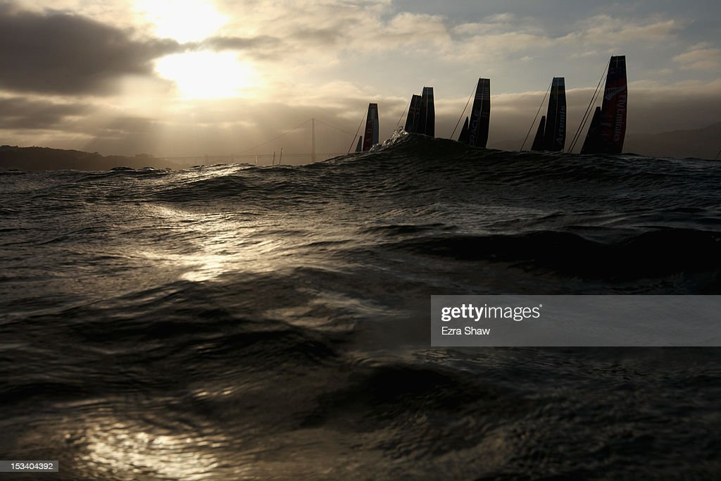 Teams compete in a fleet race during the America's Cup World Series on October 4, 2012 in San Francisco, California. Teams are racing on an AC45 boat, which is the forerunner to the AC72 that teams will race next year in the Louis Vuitton Cup and America's Cup Finals in San Francisco.