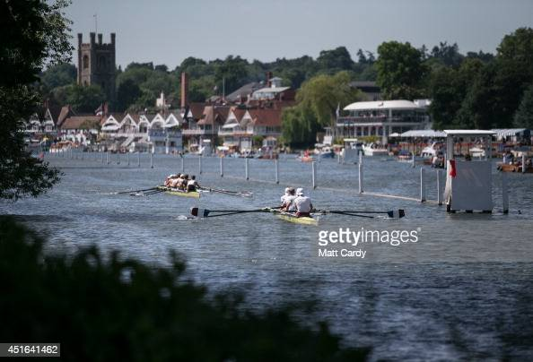 Teams compete in a race at the Henley Royal Regatta on July 3 2014 in HenleyonThames England Opening yesterday and celebrating its 175th year the...