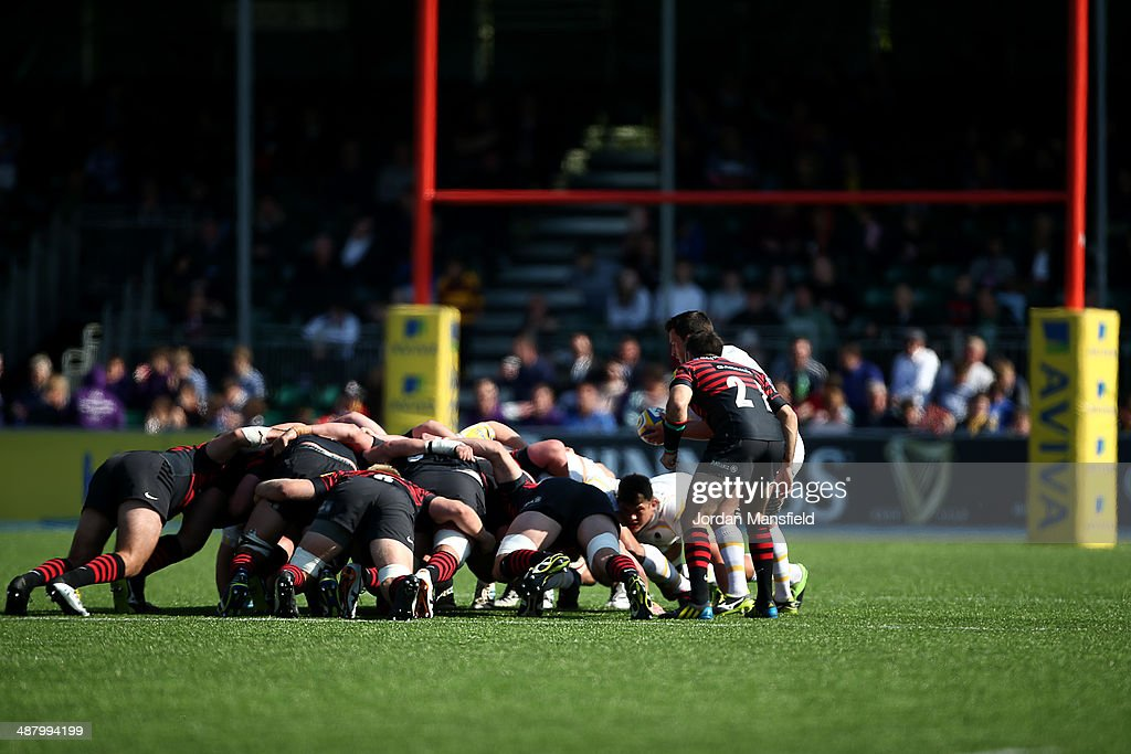 Teams compete in a scrum during the Aviva Premiership match between Saracens and Worcester Warriors at Allianz Park on May 3, 2014 in Barnet, England.