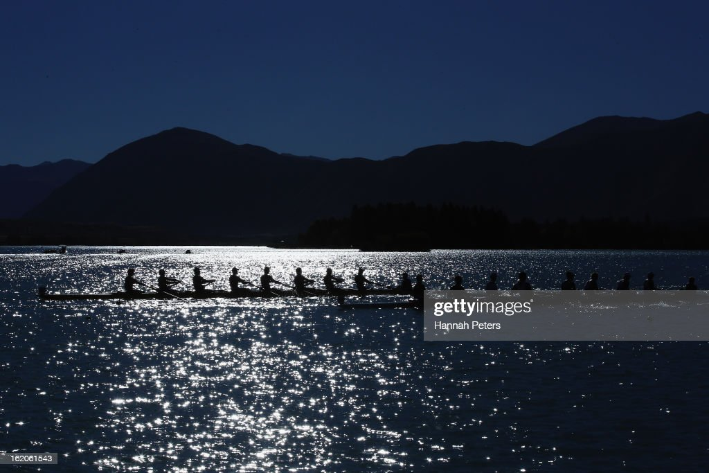 Teams compete in the Men's Senior 8+ heat during the New Zealand Rowing Championships at Lake Ruataniwha on February 19, 2013 in Twizel, New Zealand.