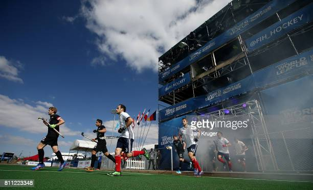 Teams enter the field of play during day 1 of the FIH Hockey World League Semi Finals Pool A match between New Zealand and France at Wits University...
